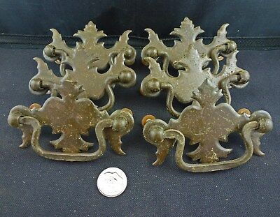 "Vintage Chippendale Brass Drawer Pulls, Set of 6, 2 ½"" Center"