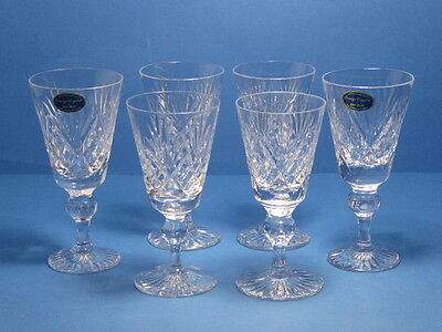 Bridge Crystal Stourbridge Leander Cut Sherry Glass x 6