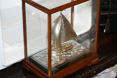 Antique Exquisite Signed Japanese Silver 970 Sailboat Ship By Takehiko Japan