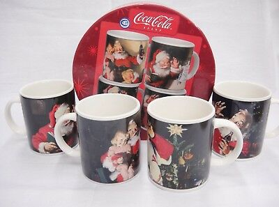 Coca Cola Santa Mugs Set of 4 Stoneware Holiday Portraits in Box Advertising