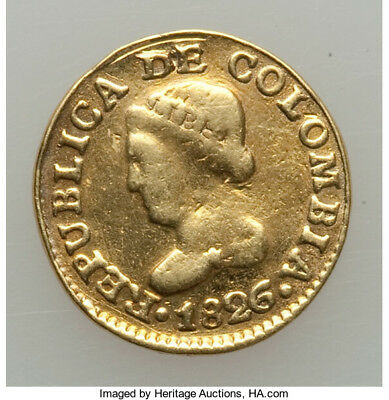 Colombia 1826-Jf Gold 1 Peso Coin Km#124