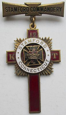 Knights Templar Stamford Commandery, Connecticut Enameled Knighted Badge 1923