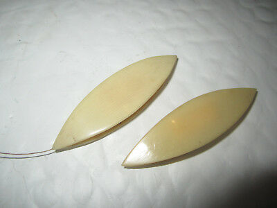 Antique Pair Of Celluloid Unknown Maker Tatting Shuttles Sewing Tools