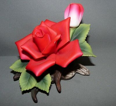 Andrea by Sadek Porcelain Flower Figurine Hand Painted Red Rose