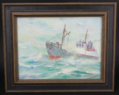 Signed Owen Ulsen Maritime Nautical Boat Ship Seascape Oil on Board Painting NR