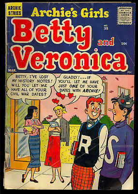 Archie's Girls Betty and Veronica #35 Nice Silver Age Teen Comic 1958 GD+