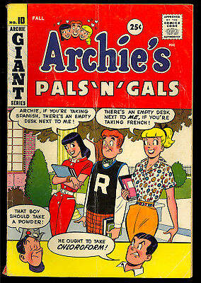 Archie's Pals 'n' Gals #10 Nice Betty & Veronica Teen Giant Comic 1959 GD+