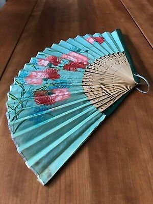 Vintage Occupied Japan Hand Painted Silk Gauze Fold-Out Fan Mint Green/Coral