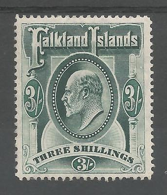FALKLAND IS SG49b THE 1904 EVII 3/- DEEP GREEN LIGHTLY MOUNTED MINT CAT £150