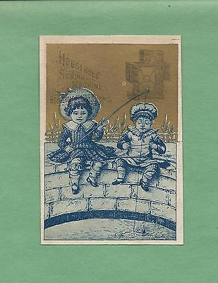 CHILDREN FISHING On HOUSEHOLD SEWING MACHINES Victorian Trade Card