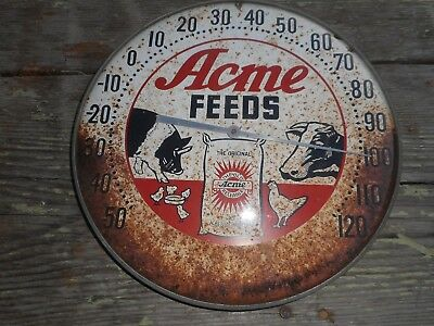 Vintage ACME FEEDS Advertising THERMOMETER CHICKEN POULTRY COW PIG GRAPHICS