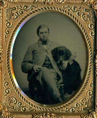 c 1860 6th pl. RUBY AMBROTYPE, MAN w FIRM HOLD ON HEAD OF BIG, SHAGGY DOG