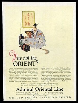 1924 Admiral Orient Line ship travel to Japan Japanese man art vintage print ad