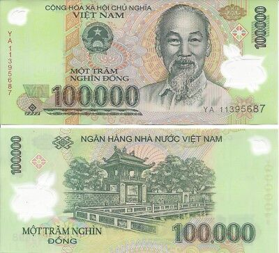 Vietnam Dong VND 100,000 Currency Polymer Banknote Uncirculated  - 7 Available