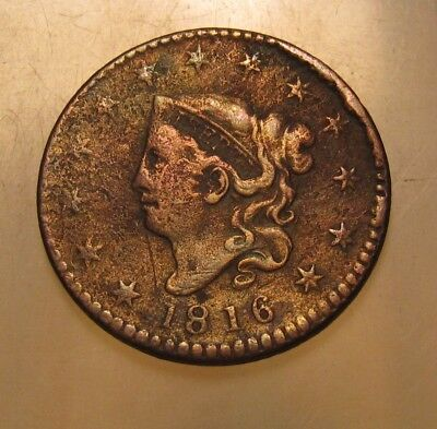 1816 Coronet Head Large Cent Penny - Circulated Condition Rot Reverse - 143SU-2