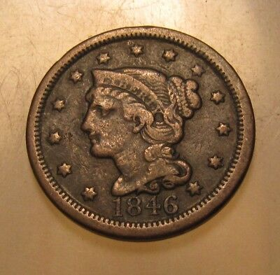1846 Tall Date Braided Hair Large Cent Penny - Extra Fine Condition - 160SU-2
