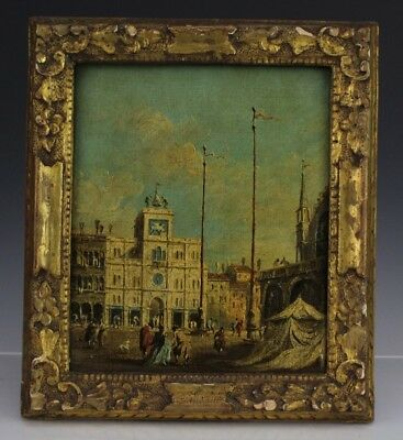 Antique Signed A. GROSSI Venetian Square Oil on Canvas Painting LISTED NR LGM