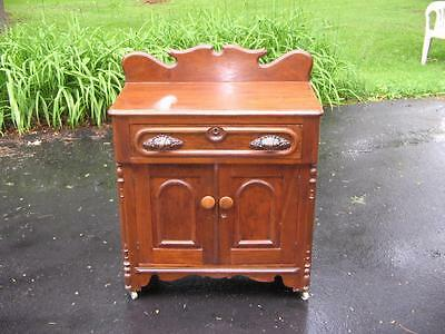 Walnut Victorian Wash Stand-Commode- Bed Side Stand