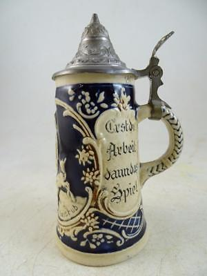 Vintage Antique Miniature Beer Stein Tankard Pewter Lid Marzi & Remy Sheep Lamb