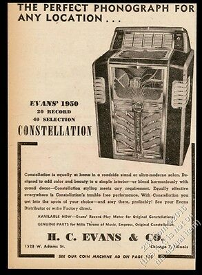 1950 Evans Constellation jukebox photo vintage trade print ad