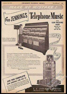 1941 Jennings Telephone Music jukebox photo vintage trade print ad