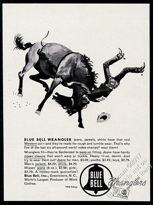 1953 horse bucking rodeo cowboy Fred Ludekens art Wrangler blue jeans vintage ad