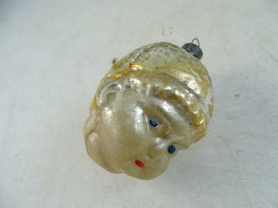 Antique Glass Christmas Ornament Figural Angel Head Baby Vintage 1900s Retro Old