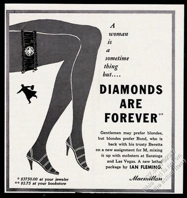 1956 James Bond 007 Diamonds Are Forever Ian Fleming book release print ad