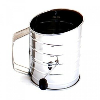 Norpro 3Cup Stainless Steel Rotary Hand Crank Flour Sifter With 2 Wire Agitator
