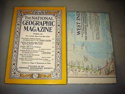 """National Geographic March 1954 includes West Indies Map 28 5/8"""" x 35"""" - GEORGIA"""