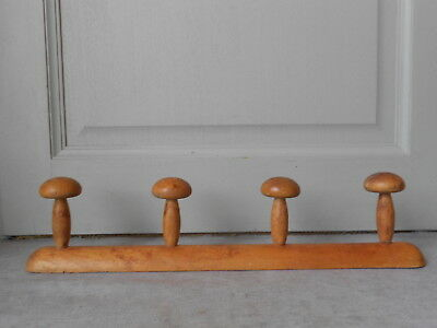 Vintage French Wooden  COAT & HAT Rack  holder 4 Pegs