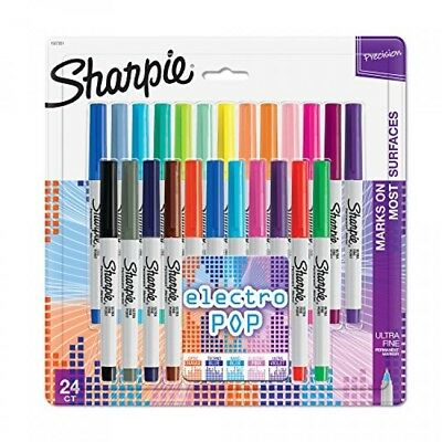 Sharpie Electro Pop Permanent Markers, Ultra Fine Point, Assorted Colors, 24