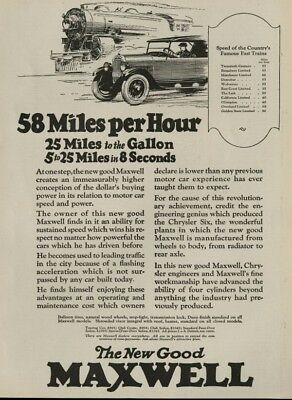 Maxwell Automobile: Standard Sedan $1095; Others: $895 to $1245 1925 FullPage Ad