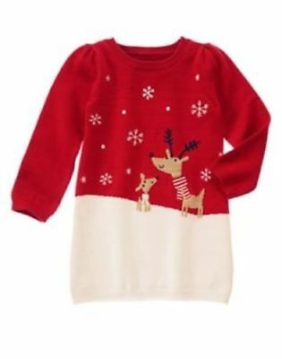 Toddler Girls Gymboree Holiday Shop Reindeer Red White Knit Dress Size 3 NWT
