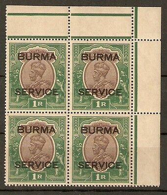 BURMA SGO11 1937 1r CHOCOLATE & GREEN MNH BLOCK OF 4