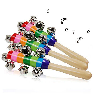 10 Bell Jingle Rainbow Shaker Stick Musical Instrument Kid Baby Funny Toy TOP NT