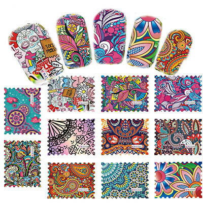 10pcs Fashion Nail Art Water Transfer Stickers Wraps Foils Decals Tips Manicure