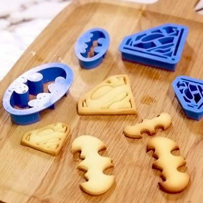 4 Superman Batman Cookie Cake Cutters Model Biscuit Pastry Fondant Bat Shaped LC