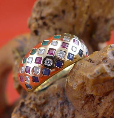 Farbenfroher Multicolor Edelstein Brillant Ring in 750 Gelbgold