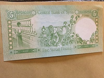 Syria 5 Syrian Pounds Banknote Date 1988 Serial Number In Photo 3