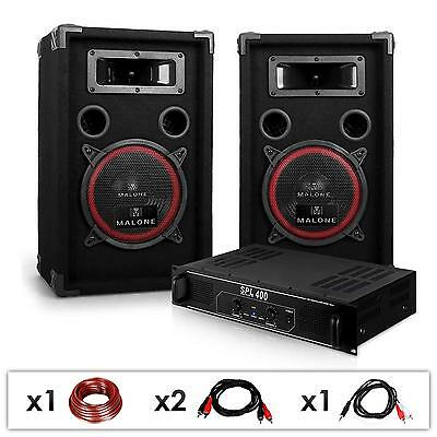 Set Audio Dj Pa Sono Disco Club Ampli 2 Canaux Rack 48Cm Enceintes 3 Voies 1000W
