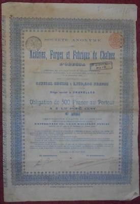 30931 RUSSIA 1898 Acieries,Forges & Fabrique of Chaines -Odessa 500 Fr Bond.