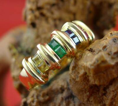 Farbenfroher Multicolor Edelstein Ring in 750 Gelbgold