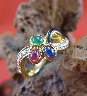 Farbenfroher Multicolor Edelstein Brillant Ring in 750 Gelbgold Emaille