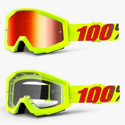2018 100% Percent Strata Mx Motocross Goggles Murcury Red Mirror / Clear Lens