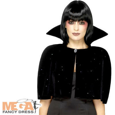 Evil Queen Cape Adults Fancy Dress Spooky Halloween Black Costume Accessory New