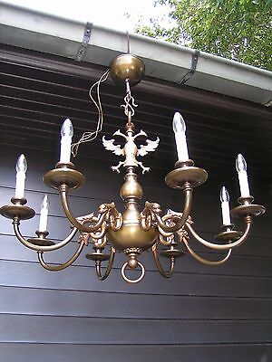 ***  Very  Nice and Large vintage 8  light Flemish chandelier.*** LOOK @this 1 !
