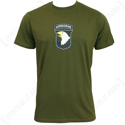 Olive Drab 101st Airborne T-Shirt - Army Military T Shirt Top Cotton All Sizes