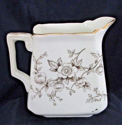 "Antique Ironstone Milk Cream Pitcher, Back Stamped ""Floral"", Gold Trim"