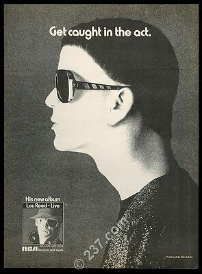1975 Lou Reed photo Live album release music trade print ad